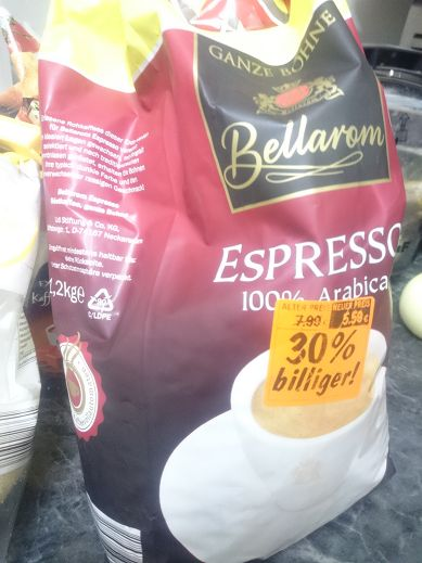 Cost of Food in Germany -Espresso Arabica 1,2kg for 5,50€
